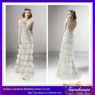 2014 New Designer Luxury Ivory Sheath V Neck Sheer Straps V Back Beaded Feather Elie Saab Wedding Dress With No Train (AB0528)