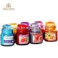 Más barato 2014, multi- color frasco de vidrio vela/100% de cera de soja vela de olor/más calientes en navidad/vela yankee