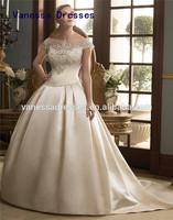 Hot Sale Jewel Ball Gown Floor Length Beading Cheap Ivory Satin Wedding Dresses