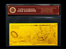 New Zealand 100 gold foil banknote with PVC Base and COA Bank Notes Gold