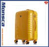 yellow or red or green PC spinner four wheels travel trolley luggage bags for girls