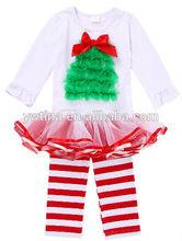 Latest Chrismas clothing set for baby Children design long sleeves dress sets Chrismas tree outfits for Teen girl Chrismas day