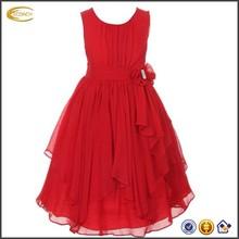 2014 Hot Selling Chiffon Asymmetric Ruffled New Model Children Girl Dress