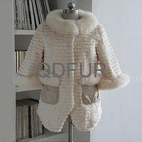 QD70540 Woman Winter White Rabbit Fur Jackets With Fox Fur Collar Pakistan Varsity Rabbit Fur Jackets 2014