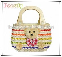New Style Sweet Bear Corn Husk Straw Bag