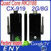 Factory supply CX-919 quad core rk3188 google tv dongle android 4.2 mini pc