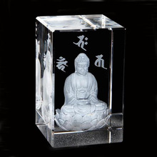 Delicate Transparent Block 3D Engraved Crystal For Buddhism Religion Gifts