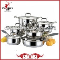 Pop Selling 12Pcs Stainless Steel Technique Cookware