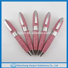 The mini and fat metal ball pen in glitter barrel