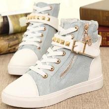 SF1004 2014 new Korean side zipper belt buckle high-top casual rivets platform canvas shoes for women