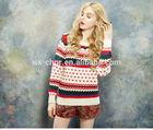 Spring color jacquard collar,sweaters 30% Super soft merino wool 70%Acrylic