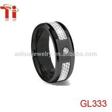 Black Ceramic Ring,Fashion mens wedding band,Black Ceramic Ring White Carbon Fiber Inlay & CZ