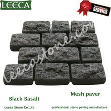 Black basalt paving stone net pasted cobble stone