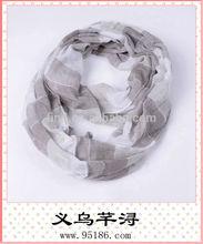 2014 women 100% polyester stripe print fashion infinity tube scarf