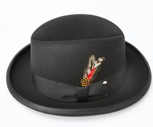 good quality wool felt black homburg hat with feather decoration and black band