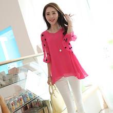 DB102# Women chiffon polka dot short sleeve cheap blouse wholesale