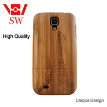 Laser carve patterns deep bamboo case for samsung galaxy S4 bamboo cell phone case