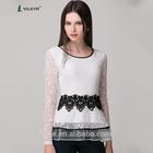 2014 latest design girls top slim long sleeve casual plus size elegant lace crochet patchwork vintage round neck blouse