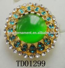 Retro Emerald Diamond Gold New Alloy Indian Wedding Ring Design China Wholesale Vintage Big Green Stone Alloy Jewelry Ring