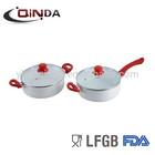 4 pcs Aluminium ceramic low sauce pot /deep frying pan with lid induction bottom