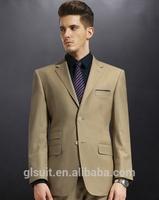 2015 new style 70% wool Notch Lapel two buttons Khaki Korean suit for men