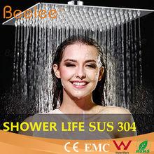 Beelee 2mm ultrathin stainless steel bath shower head