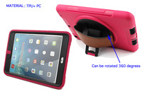 Rugged swivel kickstand case cover with leather hand strap holder for iPad mini iPad mini 2