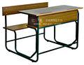 Altura padrão de madeira da sala de aula da escola assentos, banco de escola para dois lugares