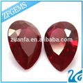Wuzhou alta qualidade 8*12mm pera cortada sintético corindo ruby 8# preço por quilate