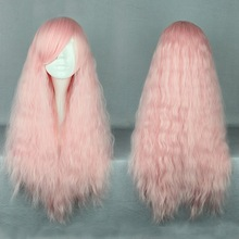 Cheap 70cm Long Light Pink Ombre Wave wig Beautiful Lolita Wig Cosplay Hair Wig