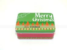 Rectangular Gift Tin Box with Hinged Lid