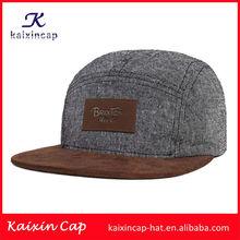 custom wool fabric headwear with custom leather patch logo on front/wholesale suede brim headwear