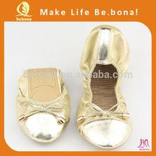 Guangzhou pola beauty shoes wedding shoes purple roll up ballerina flats for women