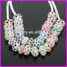 KJL-BD5128 Wholesale ! Mix color rhinestone Alloy big hole Beads Fit European Bracelet DIY
