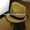 Cor natural chapéu de palha de papel chapéu de crochê