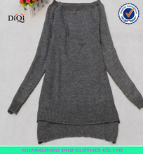 fashion casual long pattern garment fornt short back long sweater dress