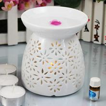 White On-glazed Ceramic Tart Burner with Prosperous Flower TS-OB175