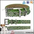 Verde cocco in pelle fatti a mano collare grosso cane, Western fibbia di strass osso collare da cane e guinzaglio