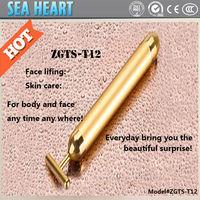 2014 Hot Sale Electric Facial Ministry Massager Vibrator T Shape 24K Gold Beauty Bar