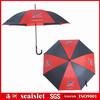 Red and black steel frame fiberglass ribs auto open straight uv protection golf umbrella