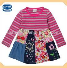 Fazer a mão do bebê vestido de algodão manga comprida flor tarja menina vestido de uma peça para crianças ( H4110 )