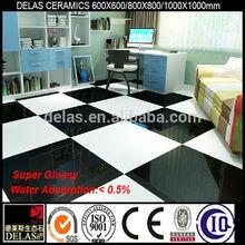 Best Price Bathroom Polished Tile Super Black and Super White Pure Color Ceramic Factory Direct