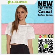 Custom fashion short sleeve white plain crop tops wholesale