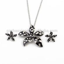 ERJS0011 black enamel star shape eternal love valentine jewelry set