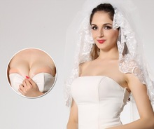 promotion adhesive and strapless nude color silicone invisible bras for wedding accessories/swimming