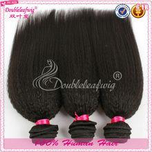 Wholesale unprocessed natural color kinky straight weft virgin brazilian coarse yaki/italian yaki hair weave yaki extension