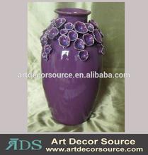 glossy purple ceramic corral vase
