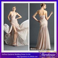 Hot Sale Style Popular Elegant Sheath Sweetheart Low Back Pleated Bodice Long Chiffon Champagne Backless Prom Dresses (AB0809)
