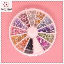 10 colors 3d round shape acrylic/resin rhinestone nail decoration