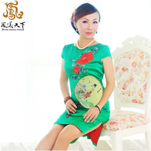 2014 New Style Daily Fashionable Spring and Summer Pure Silk Reformed Retro Embroidered Short Chinese bridal Dress fabric